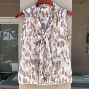 Loft Ann Taylor sleeveless animal print top.
